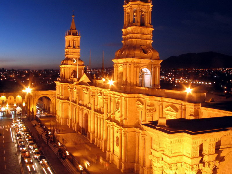 Arequipa - Cathedral at Plaza de Armas at night