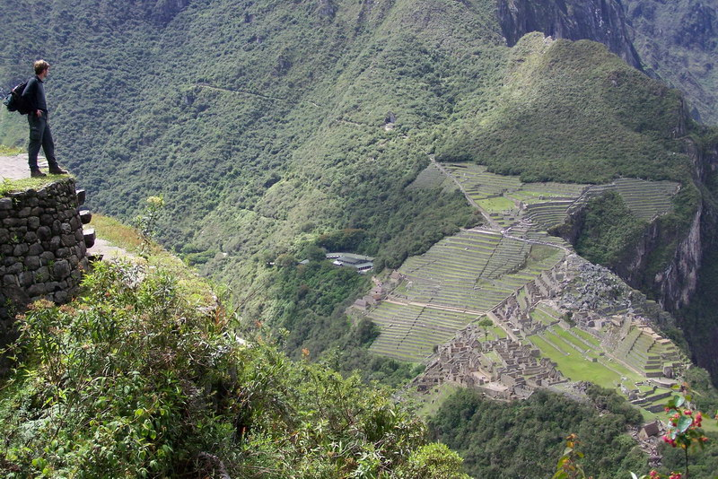 View down to the Machu Picchu area from Wayna Picchu