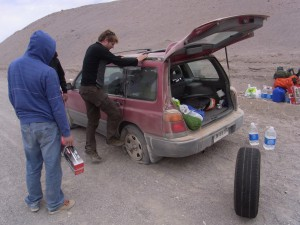 Parque Nacional Nevado Tres Cruces - tyre change