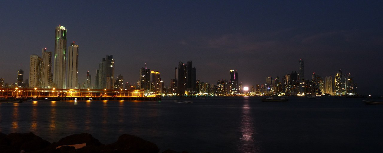 Panama - Panama City: view by night from Casco Viejo towards the new town