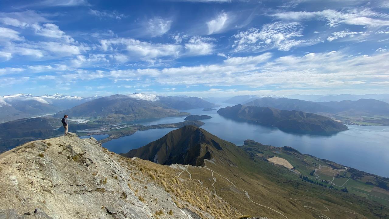 Roy's Peak Track ohne Instagram-Queue bei Wanaka, Otago, Neuseeland (15.01.2020)